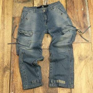 Girbaud Jeans - Girbaud Jeans 90's Cargo Drawstring Hook & Loop